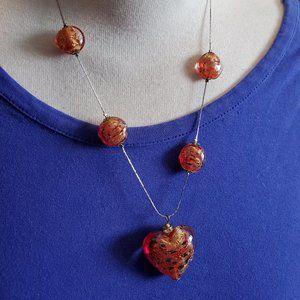 "18"" Silver Tone Orange Glass Bead Heart Necklace"